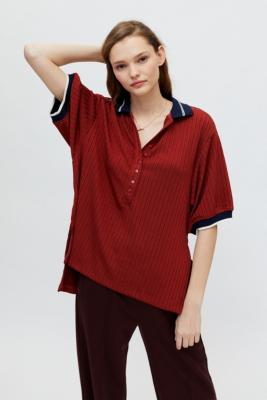 UO Farrah Polo Shirt - Yellow L at Urban Outfitters