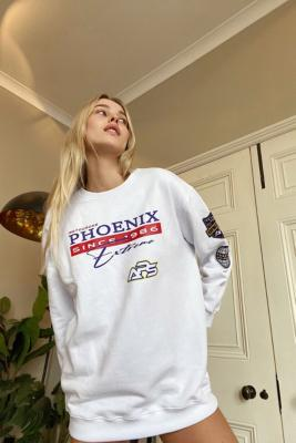 UO Badged Motocross Sweatshirt Dress - White M/L at Urban Outfitters