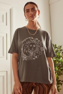 UO Dark Grey Enjoy The New Moon Boyfriend T-Shirt - Grey XL at Urban Outfitters