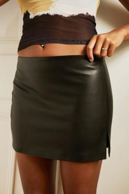 UO A-Line PU Mini Skirt - Black S at Urban Outfitters