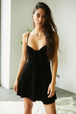 UO Velvet Dasha Mini Dress - Black XS at Urban Outfitters