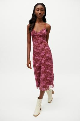 UO Gwen Mesh Midi Slip Dress - Pink S at Urban Outfitters