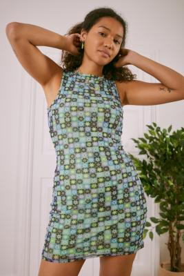 UO Blue Austin Mesh Sleeveless Mini Dress - Blue S at Urban Outfitters