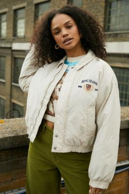 BDG Ivory Daisy Padded Cropped Jacket - Beige M at Urban Outfitters