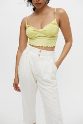 UO Carm Twist-Front Cropped Cami - Yellow XS at Urban Outfitters