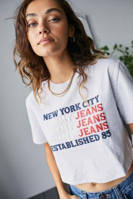 Tommy Hilfiger Grey Logo Print Cropped T-Shirt - Grey M at Urban Outfitters