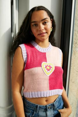 The Ragged Priest Campus Knitted Tank Top - Pink XS at Urban Outfitters