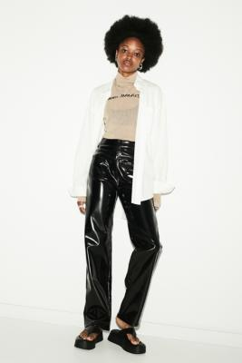 MM6 Studio Vinyl Trousers - Black 42 at Urban Outfitters