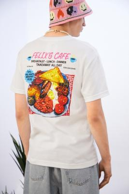 PLAYDUDE X Deli & Grocery Felix's Café T-Shirt - White L at Urban Outfitters