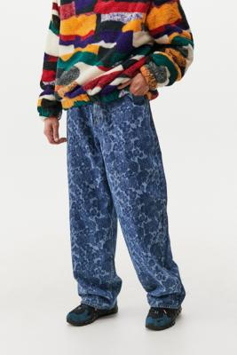 BDG Laser Floral Print Denim Jack Jeans - Blue 36W 32L at Urban Outfitters