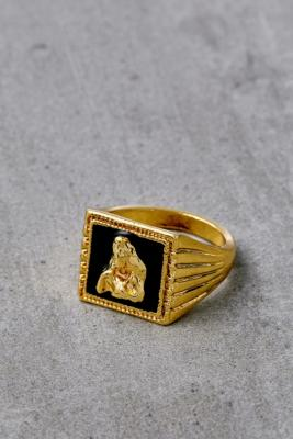 Statement Gold-Plated Box Ring - Gold M at Urban Outfitters