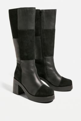 UO Black Bibi Patchwork Knee-High Boots - Black UK 4 at Urban Outfitters