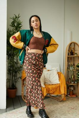 Urban Outfitters Archive Orange Ditsy Floral Print Lizzie Maxi Skirt - Orange M at Urban Outfitters