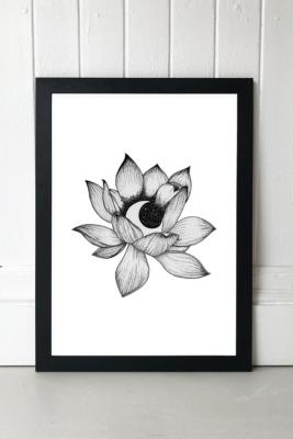 Rica Angeline Caoile Lotus Moon Wall Art Print - Black 1 at Urban Outfitters