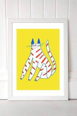 Ashley Percival Yellow Stripy Cat Wall Art Print - White 1 at Urban Outfitters