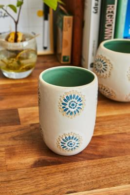 Emma Tile Ceramic Tumbler - Beige ALL at Urban Outfitters