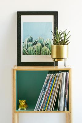 83 Oranges Cactus and Teal Wall Art Print - Black UK 3 at Urban Outfitters